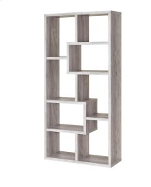 - Eight shelf bookcase finished in grey driftwood- Constructed with MDF, particle board, and engineered veneer- Also available in weathered grey (#800510), cappuccino (#800264), white (#800136), walnut (#801138), and elm (#801302)