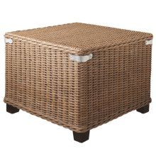 Woven Rattan Square Ottoman with Metal Accents.