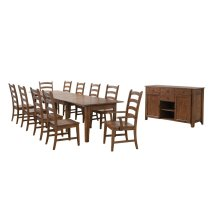 DLU-BR134-AMSB12PC  12 Piece Rectangular Extendable Table Dining Set  Sideboard  Amish Brown