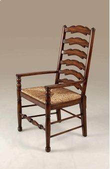 Umber Finished Mahogany Ladderback Armchair, Abaca Rope Rush Seat