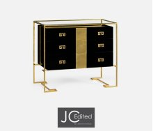 Gilded Iron Chest of Drawers in Smoky Black