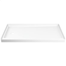 """White ProCrylic 60"""" x 32"""" Shower Base Left Drain"""