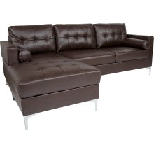Riverside Upholstered Tufted Back Sectional with Left Side Facing Chaise and Bolster Pillows in Brown Leather