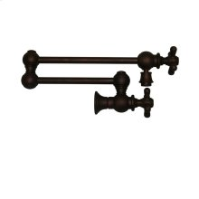 Vintage III wall mount pot filler with cross handles and a swivel aerator.