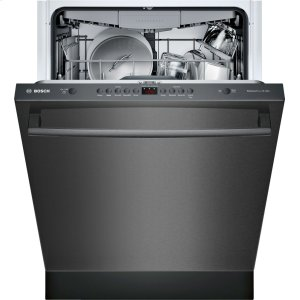 "Bosch100 Series 24"" Bar Handle Dishwasher SHXM4AY54N Black Stainless Steel"