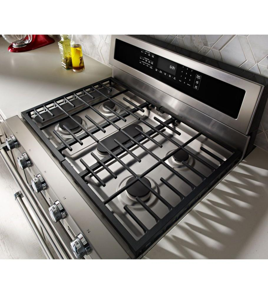 Kitchenaid 30 Inch 5 Burner Dual Fuel Double Oven Convection Range    Stainless Steel