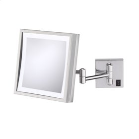 Polished Nickel Single-Sided LED Square Wall Mirror