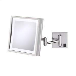 Brushed Nickel Single-Sided LED Square Wall Mirror