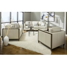 Addison Leather Loveseat in Frost Grey