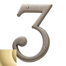 Non-Lacquered Brass House Number - 3