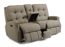 Devon Fabric Power Reclining Loveseat with Console, Power Headrests, and Nailhead Trim