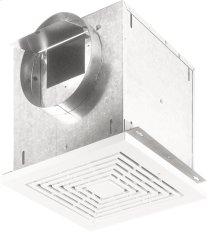 "Ceiling Mount Ventilator, High Capacity, 157 CFM Horizontal, 1.5 Sones; 160 CFM Vertical, 1.6 Sones. Polymeric grille. 6"" rd. duct connector. 120V"