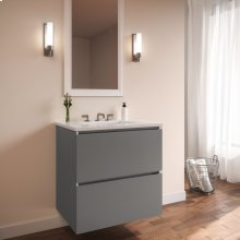 """Curated Cartesian 24"""" X 15"""" X 21"""" Two Drawer Vanity In Matte Gray Glass With Slow-close Plumbing Drawer, Full Drawer and Engineered Stone 25"""" Vanity Top In Quartz White (silestone White Storm)"""