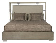 King-Sized Mosaic Upholstered Panel Bed in Dark Taupe (373)