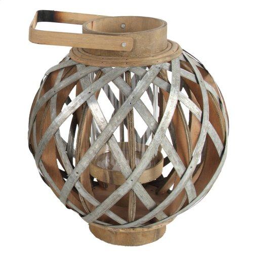 "AV37736  11.5x11.5x12.8"" Wood/Metal Lantern 2EA/CTN"