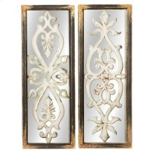 Distressed Black Framed Wall Mirror with Scroll Inlay