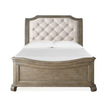 Complete Queen Sleigh Bed w/Shaped Footboard