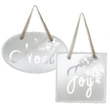 "Frosted ""Joy"" and ""Noel"" Ornament (2 asstd)."