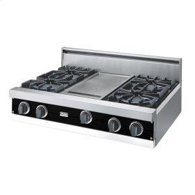 """Black 36"""" Open Burner Rangetop - VGRT (36"""" wide, four burners 12"""" wide griddle/simmer plate)"""