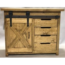 "#616 Small Barn Door Console w/ Drawers 44.5""wx19.5""dx36""h"