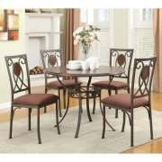 """5 PC 42"""" Rd. Dining Set/ Metal-Wood Product Image"""