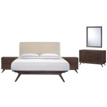 Tracy 5 Piece Queen Upholstered Fabric Wood Bedroom Set in Cappuccino Beige