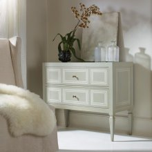 Milan Commode, Grey Paint With Ivory Accent