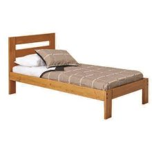 Heartland Twin Promo Bed with options: Honey Pine, Twin, 2 Drawer Storage
