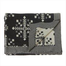 Grey & Ivory Snowflake Knit Throw with Stripe Edge.
