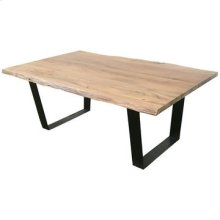 Bengal Manor Iron and Live Edge Natural Acacia Wood Rectangle Cocktail Table