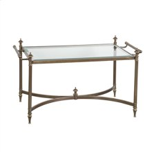 Hand-Cast Brass Cocktail Table in Antiqued Finish, Inset Glass Top