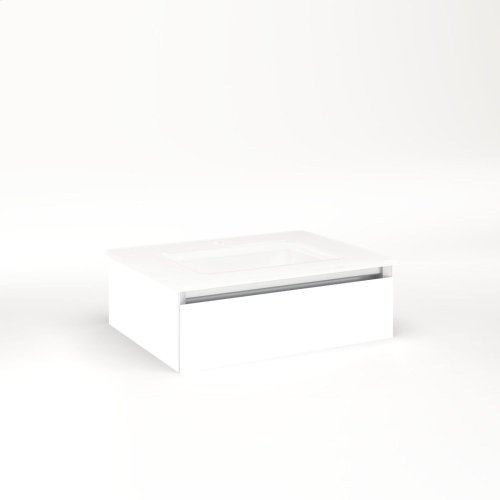 """Cartesian 24-1/8"""" X 7-1/2"""" X 18-3/4"""" Slim Drawer Vanity In White With Slow-close Plumbing Drawer and No Night Light"""