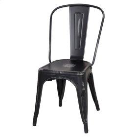 Metropolis Metal Side Chair, Distressed Black