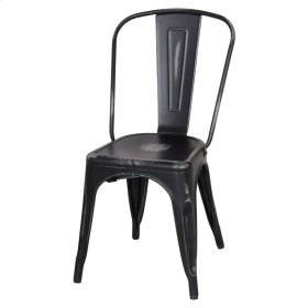 Metropolis Metal Side Chair, Distressed Black