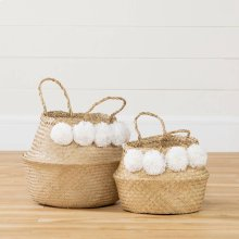 Woven Belly Baskets with Pompoms - Set of 2 - Natural Seagrass and White