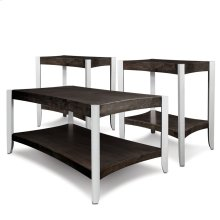 Smoky Onyx Hourglass & Metallook Leg Condo/Apartment Coffee Table & Two End Tables--Three pack #10120-SO