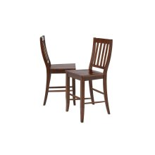"DLU-ADW-B20-CT-2  Andrews School House 24"" Barstool  Counter Height Stool  Chestnut  Set of 2"