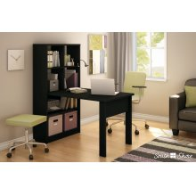 Work Table and Storage Unit Set - Pure Black