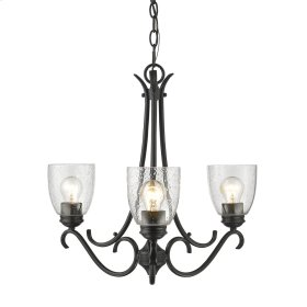 Parrish 3 Light Chandelier in Black with Seeded Glass