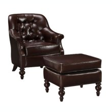 Large Brown Bonded Leather Chair & Ottoman