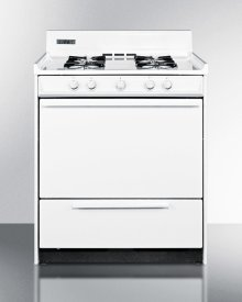"""30"""" Wide White Gas Range With Battery Start Ignition"""