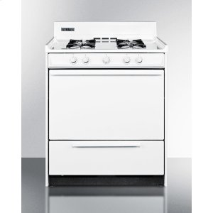 """Summit30"""" Wide White Gas Range With Battery Start Ignition"""