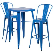 23.75'' Square Blue Metal Indoor-Outdoor Bar Table Set with 2 Stools with Backs