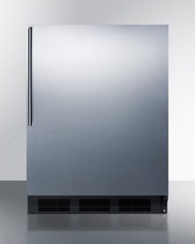 ADA Compliant Freestanding Refrigerator-freezer for Residential Use, Cycle Defrost With Deluxe Interior, Ss Wrapped Door, Thin Handle, and Black Cabinet