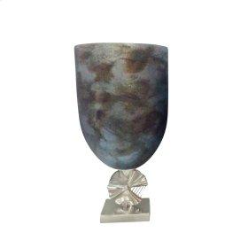 "Glass Vase W/ Aluminum Base 20.5"", Multi"