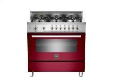 36 6-Burner, Gas Oven Burgundy