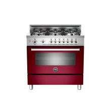 36 6-Burner, Gas Oven Burgundy ***FLOOR SAMPLE***
