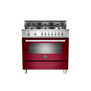 36 6-Burner, Gas Oven Burgundy - BURGUNDY