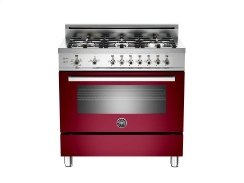 36 6-Burner, Gas Oven Burgundy