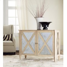 Mirrored Two Door Cabinet, Weathered Oak